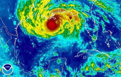 A satellite image of Hurricane Gustav.