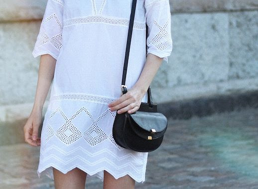 Le Fashion Blog White Eyelet Dress Black Cross Body Bag Via Blame It On Fashion