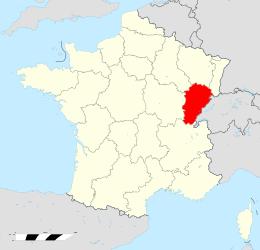 Localització de Franc Comtat a França