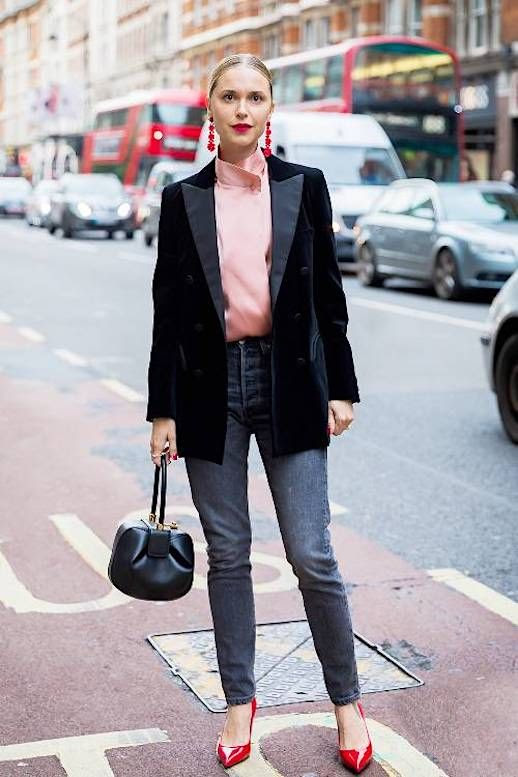 Le Fashion Blog Pernille Date Night Black Blazer Pink Silk Top Red Earrings Dark Denim Red Heels Via Style Du Monde