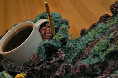 crocheted handspun scarf