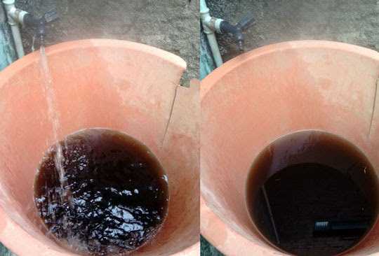 Moradores registram água escura saindo de torneiras em Espanta Gado