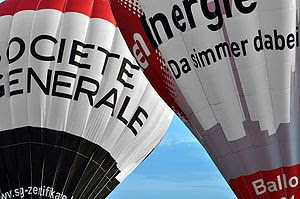 Two hot-air balloons from Societe Generale and...