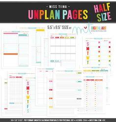 """UNplan HS Weekly - Planner Page Printables PDF - 5.5"""" x 8.5 ..."""