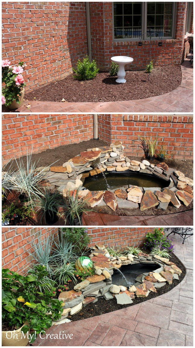 DIY BACKYARD POND & LANDSCAPE WATER FEATURE - Oh My Creative