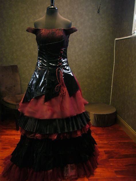 Black And Red Gothic Wedding Dress With By
