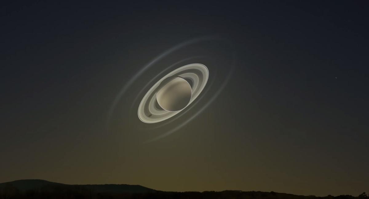 Saturn, Sun, Earth