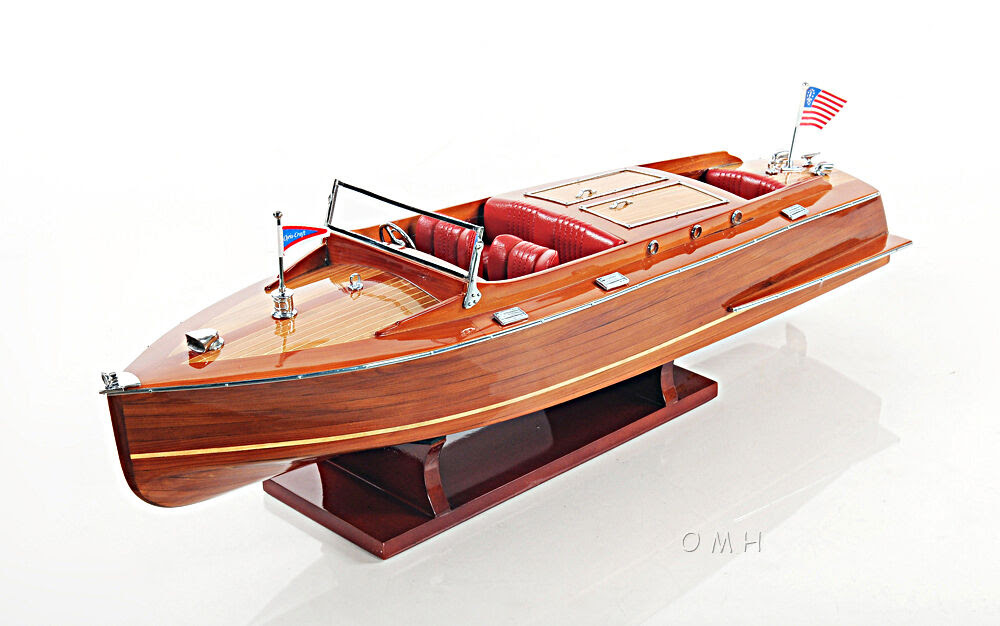 "Runabout Wood Model 24"" Classic Mahogany Racing Speed Boat New 