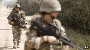 British troops on patrol in southern Afghanistan