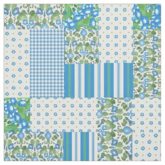 Blue Morning Glory Faux Patchwork Pattern Fabric