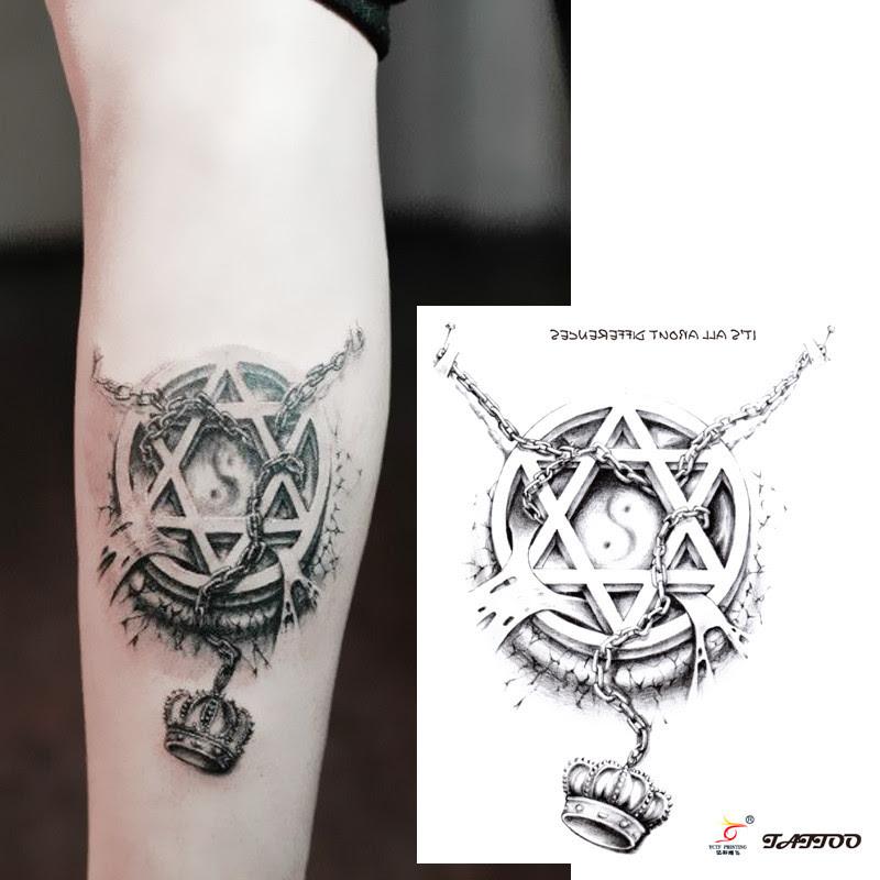 Temporary Tattoos 3d Star Circle Chain Crown Arm Fake Transfer
