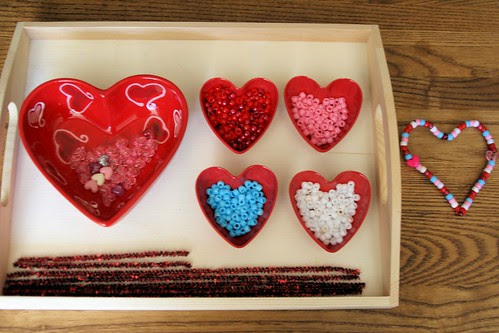 Montessori-Oriented Pipe-Cleaner-and-Bead Valentine's Day Activity