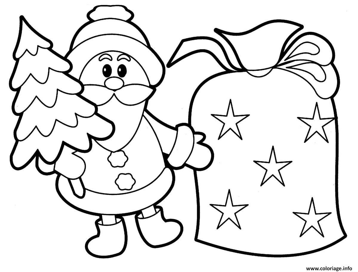 Coloriage pere noel avec un sapin et sac de cadeaux