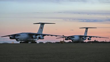 Two Chinese Ilyushin IL-76s aircraft sit on the tarmac at RAAF Pearce, Perth, 22 March