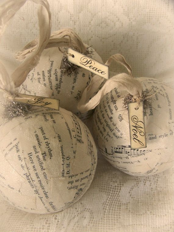 3 Winter White Christmas Ornaments Tarnished Tinsel Trio of Vintage Ornaments Shabby Cottage Music Ornaments