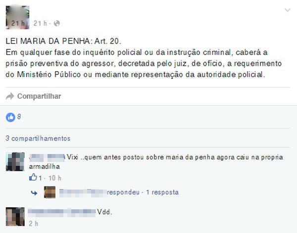 Suspeito postou mensagem sobre Lei Maria da Penha antes do crime  (Foto: Reprodução/ Facebook)