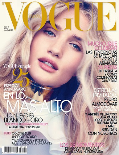 Rosie Huntington-Whiteley Magazine Cover Vogue Spain March 2013 by Biilboard Hot 100
