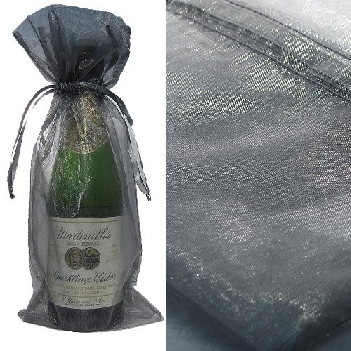 Silver Organza Wine Bottle Favor Gift Bags (Set of 10)