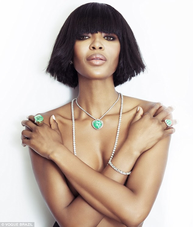 Dare to bare: Shot by industry legends Tom Munro, JR Duran and Jacques Dequeke, Naomi looks fierce as she shows off an array of eye-catching green jewels