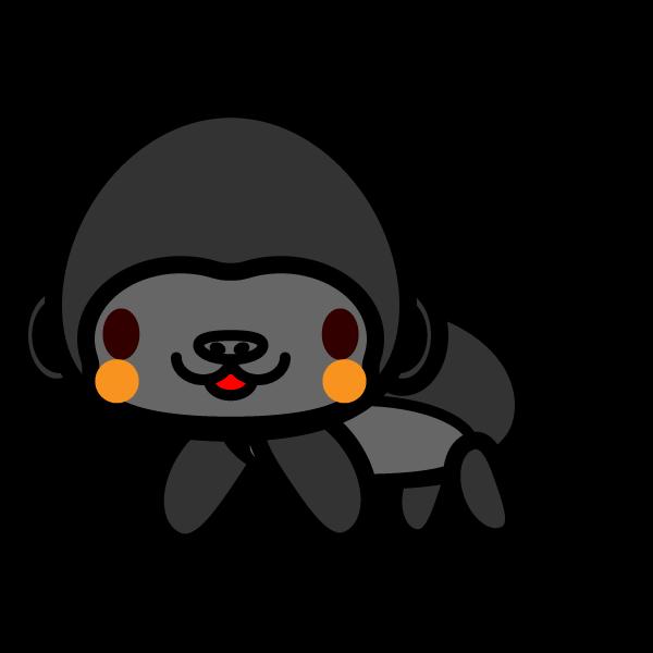 かわいいゴリラの無料イラスト商用フリー オイデ43