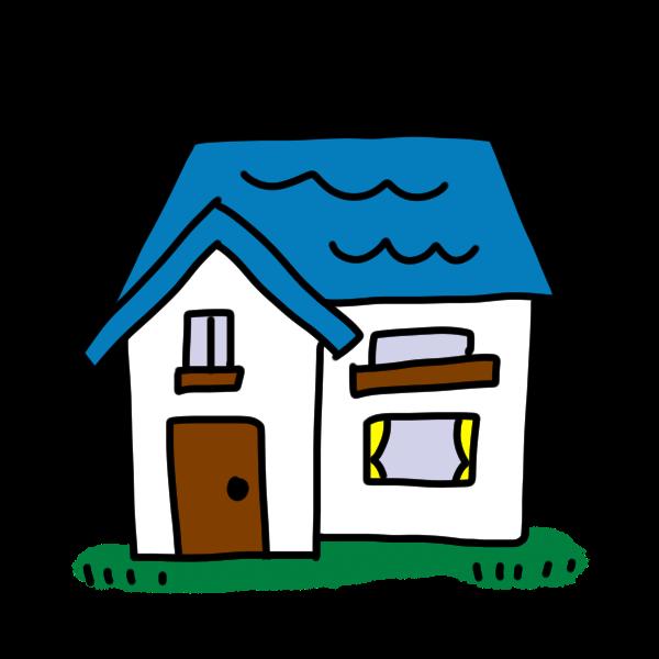 青い屋根のお家のイラスト かわいいフリー素材が無料のイラストレイン
