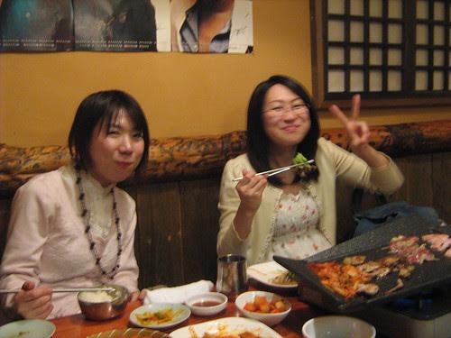 Noriko and Ai enjoying Korean BBQ