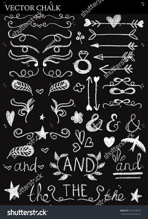 Chalk Decorative Design Elements Wedding Invitations Stock