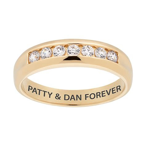 gold cz mens engraved  wedding band