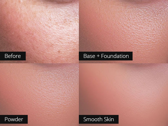 In this image the Powder and Smooth Skin actions were run after the base + foundation