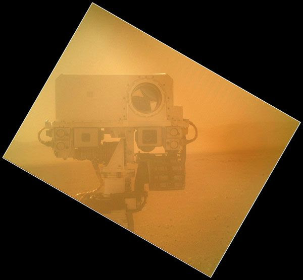 A Mars Hand Lens Imager (MAHLI) photo of the Curiosity rover's Mastcam, taken on September 7, 2012. The clear dust cover for the camera's lens was closed for this pic.