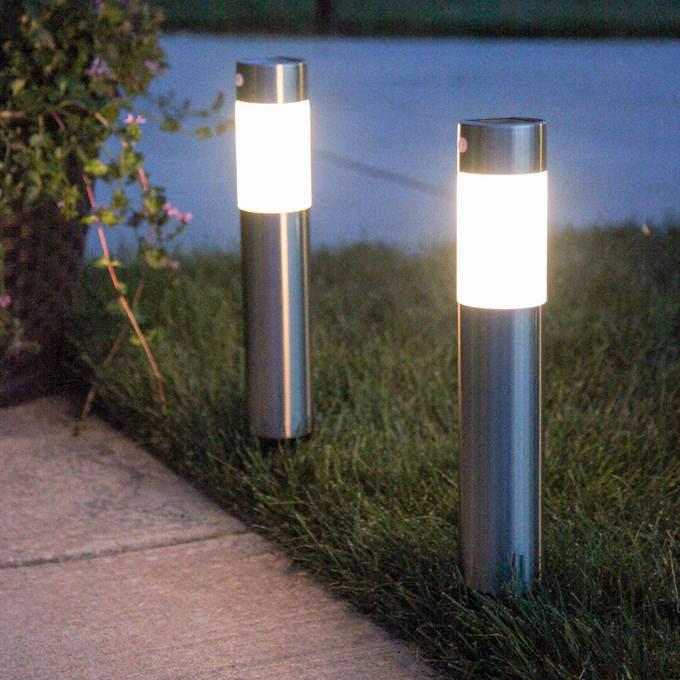 Lights.com  Solar Lights  Solar Landscape Lighting  Frosted Warm White Stainless Steel Solar