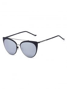 Plaid Black Mirrored Cat Eye Sunglasses