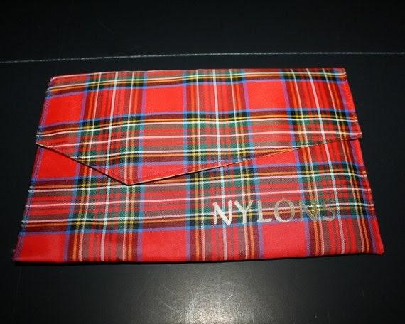 Vintage Tartan Red Plaid Nylon or Lingerie Bag 1950s Unused Scotland Holds a Kindle