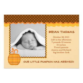 Little Pumpkin Baby Birth Photo Announcement