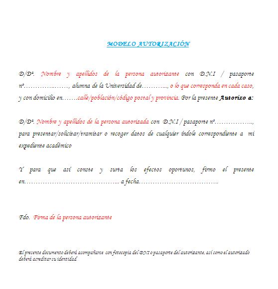 Como realizar una autorizaci n el blog de almudena for Solicitud de chequera