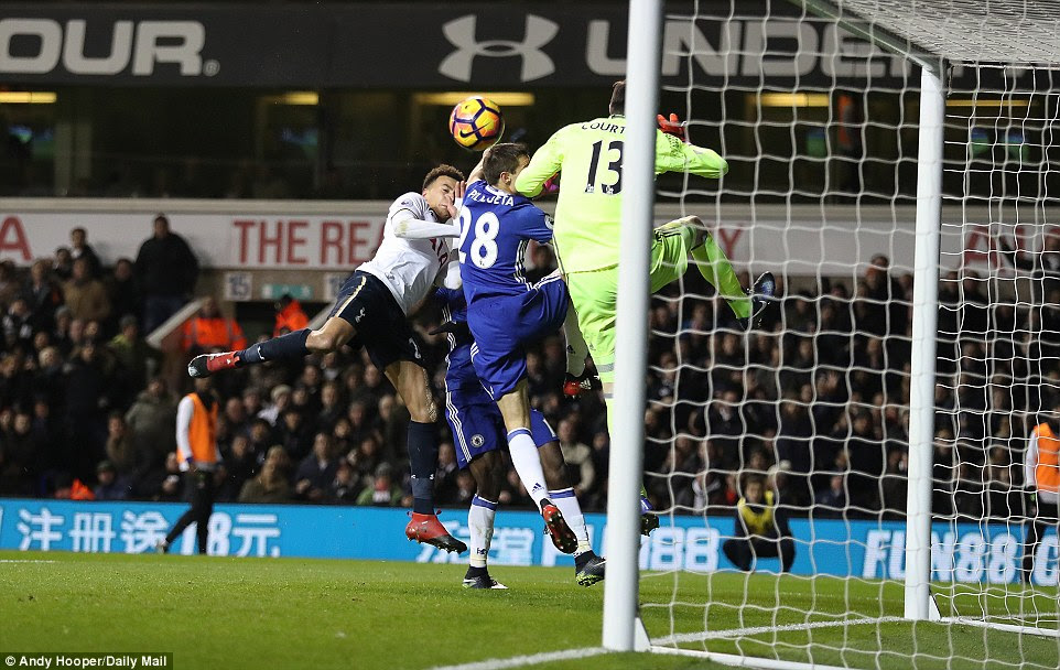 Dele Alli doubles his tally for the evening with another wonderful headed finish as Tottenham stunned London rivals Chelsea