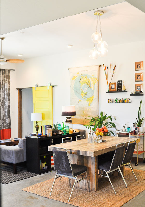 sarah-emmerson-dining-table-room-living-room-vaulted-ceiling-west-elm-yellow-eclectic-grouse-modern-style-rustic