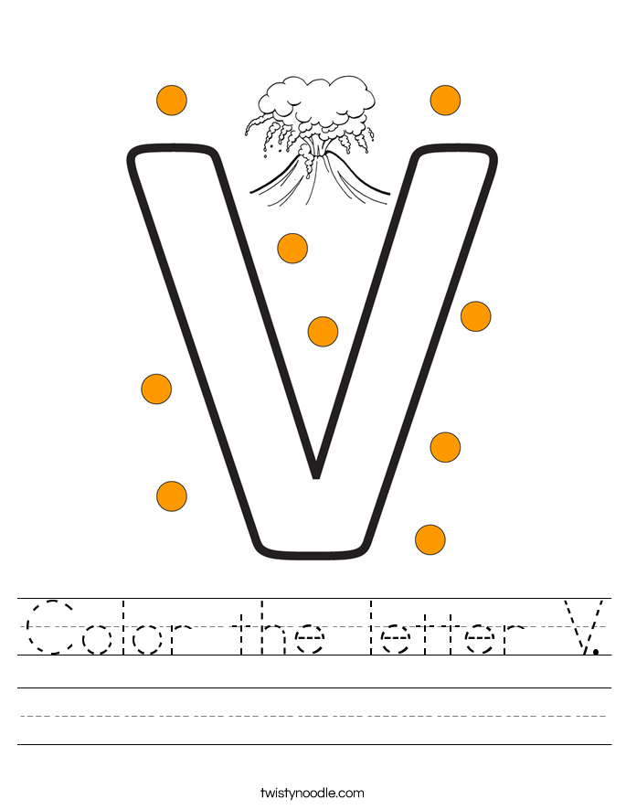 Color the letter V Worksheet - Twisty Noodle