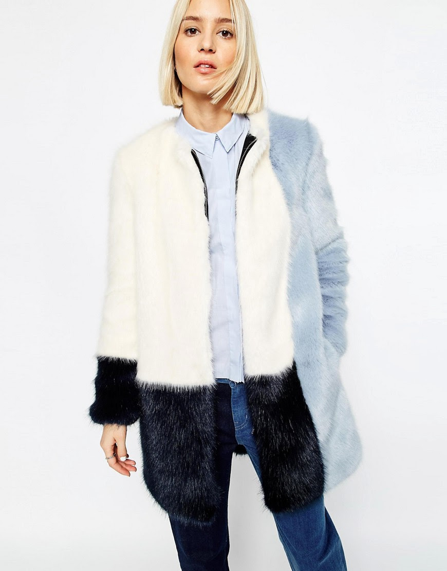 Image 1 of ASOS WHITE Colour Block Faux Fur Coat