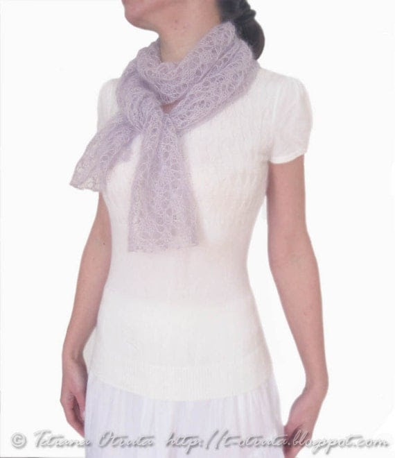Hand knit lace scarf in lavender light purple neckwarmer silk mohair gift