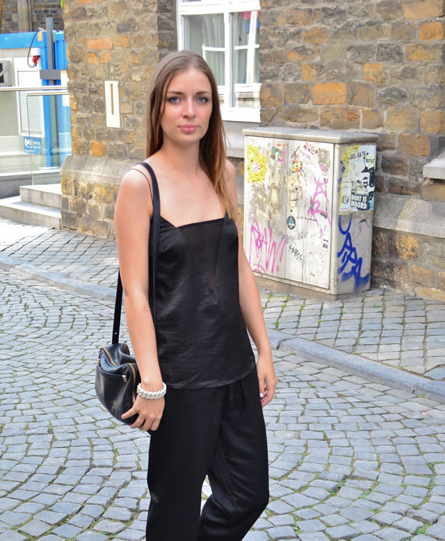 asos h&m trend slouchy silk trousers shiny mesh v-neck celine inspired cami ss13 see trough transparent fashion blogger belgium marc by marc jacobs rubber bracelet