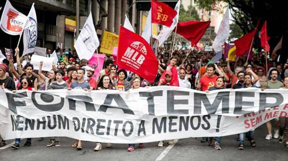 Este viernes huelga general en Brasil en rechazo a las medidas anunciadas por el gobierno interino de Michel Temer. Foto: Hispantv.