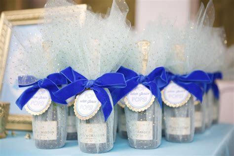 Custom wrapped mini champagne bottle favors by Lovelyfest