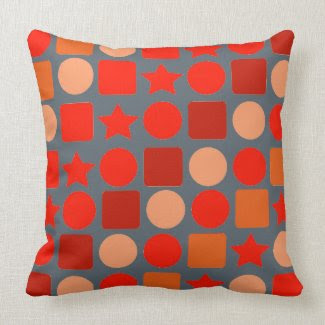 Red-Orange Stars, Circles, Squares on Throw Pillow