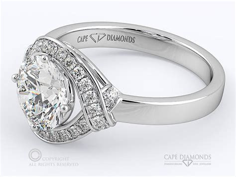 143 A Round Diamond Unique Halo Engagement Ring, Cape Town