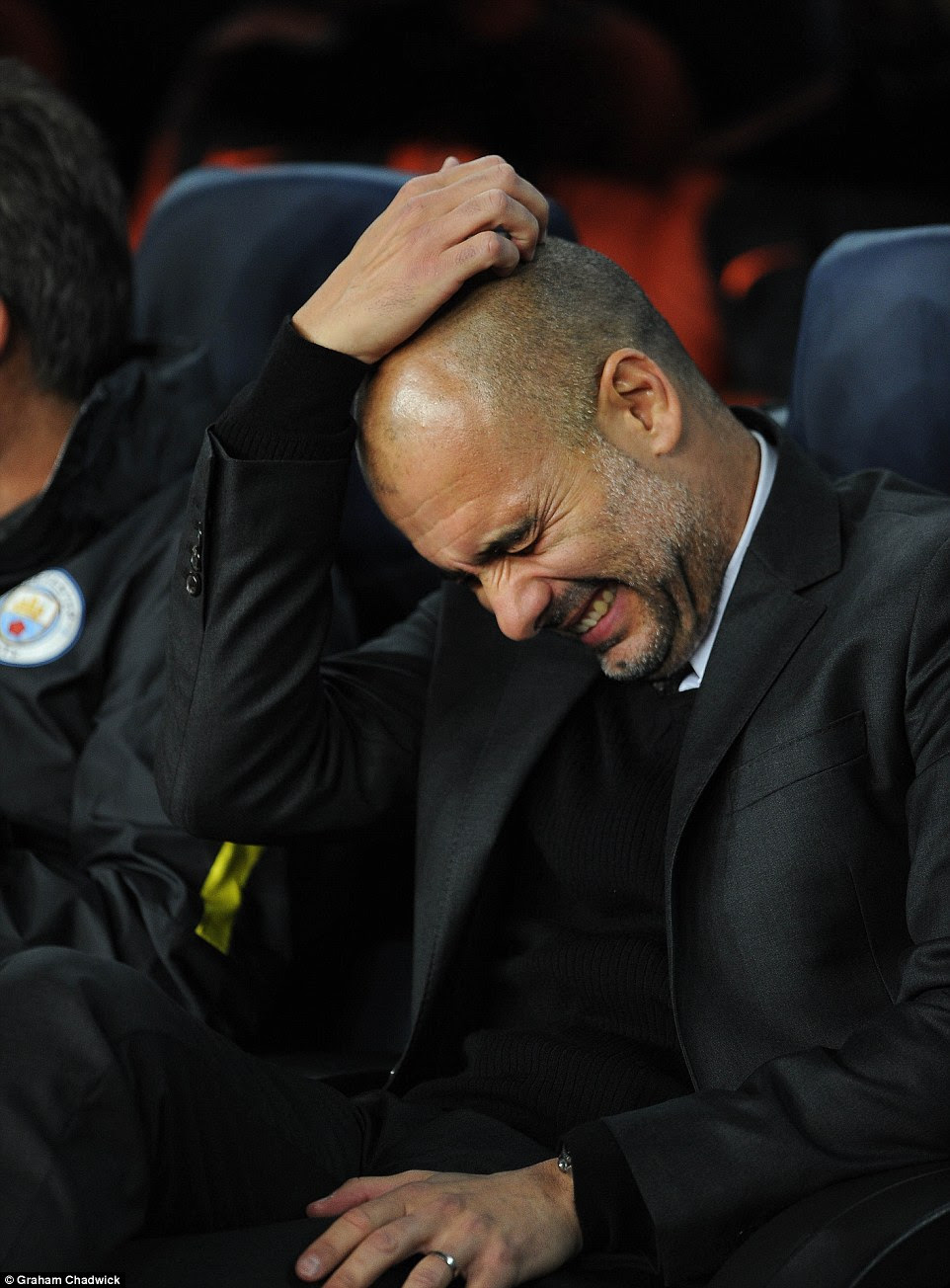 In contrast, City boss Pep Guardiola shows his frustration at seeing his side concede on 17 minutes