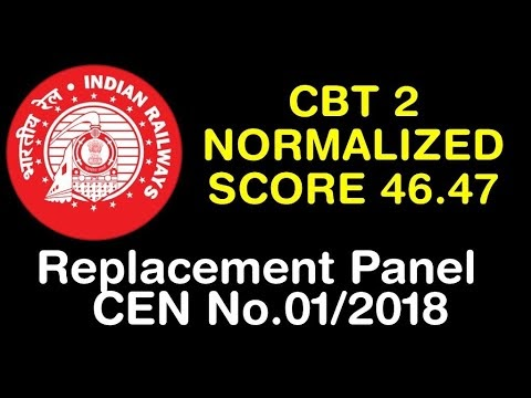Replacement Panel CEN No.01/2018 । CBT 2 NORMALISED MARKS 46.47 । RRB NTPC 2019