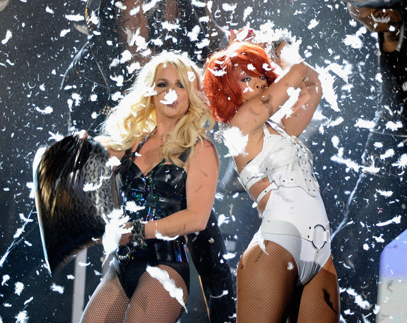 Britney Spears Singers Britney Spears (L) and Rihanna perform onstage during the 2011 Billboard Music Awards at the MGM Grand Garden Arena May 22, 2011 in Las Vegas, Nevada.