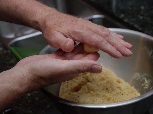 rolling the pizzelle dough into a ball