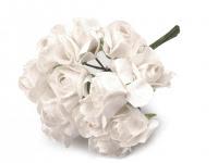 Kwiaty papierowe 2cm 12szt, róża- mleczna